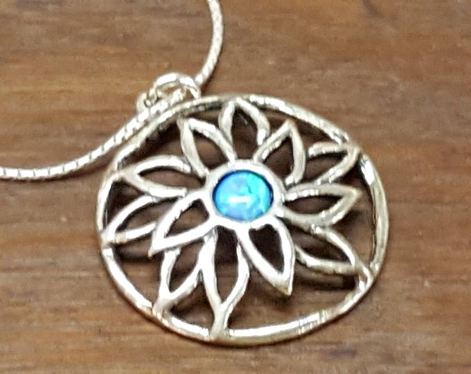 """Shablool didae Sterling Silver Opal Pendant Necklace 18"""" Artisan 1"""" Openwork Round Pendant NIB"""