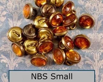 Set of 8 Buttons A Hair over NBS Diminutive c1910 Gold Metal with  Faux Topaz Pastes