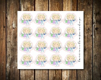 Hanging Laundry - Cute Blonde Girl - Functional Character Stickers