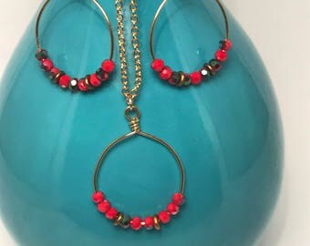 Red Picasso Earring/Necklace Set