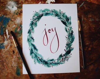 Joy Christmas Print - Pine Wreath