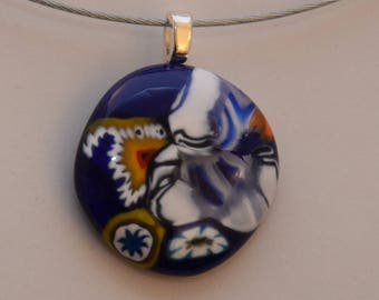 Round blue and murine Murano glass pendant multicolored, silver plated bail