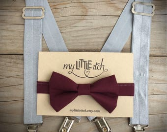 First Birthday Outfit Boy, 1st Birthday Outfit, Baby Boy Suspenders and Bow Tie, Ring Bearer Gift, Toddler Suspenders, Burgundy Bow Tie