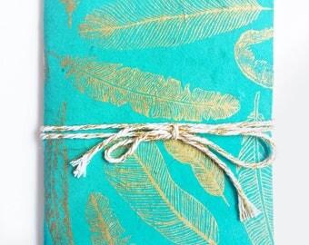 Notebook, Jotter, Sketchbook | Gold & Blue Feathers