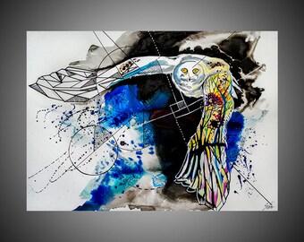 Snowy owl watercolor painting, Owl painting, Owl painting, Bird painting,  Bird drawing, Bird nursery, Owl nursery, Bird decor, Owl decor