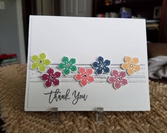 4 Handmade Petite Petals Thank You Notes with Envelopes