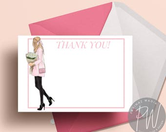 Blonde in Pink Coat Thank You Card