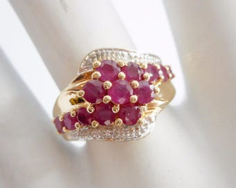 Ruby Cluster Ring, Gold Ring, Ruby Ring, Natural Ruby, Vintage Ring, 10k Yellow & White Gold Natural Ruby Cluster Ring Sz 7 #1058