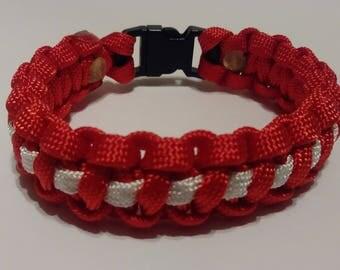 Christmas bracelet, paracord bracelet, bracelet, red & white bracelet