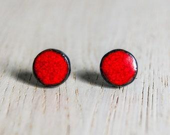 Ceramic stud earrings - little circles