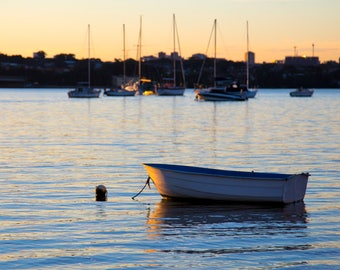 Georges River Taren Point Sutherland Shire Sydney NSW Australia Photograph Wall Art Print Blue Sunset Row Boats Yachts