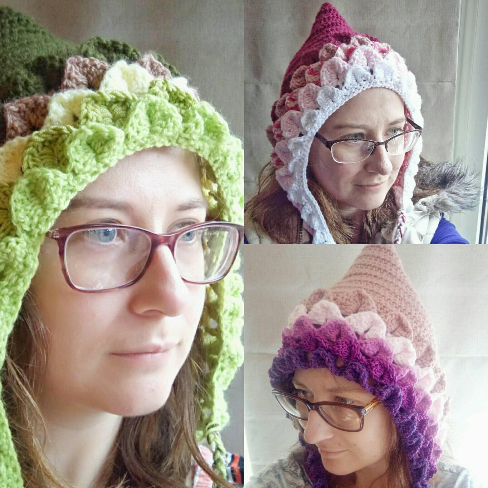 Crochet pixie hat, adult pixie hat, dragon scale pixie hat, crochet ...