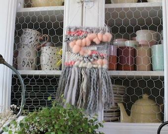 Small wall weaving - woven wall hanging pink and gray - wall decor