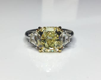Estate Platinum & 18K GIA Certified 5.33 CTW Fancy Intense Yellow Diamond Engagement Ring