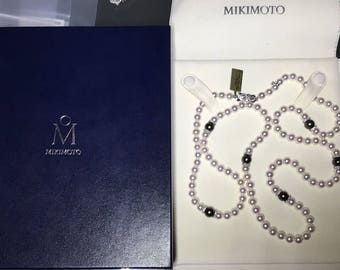"Mikimoto 18K White Gold Clasp 7.5mm -7mm Pearl & Diamond Necklace 37"" A+ Grade"