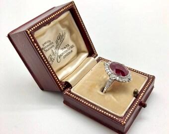 Estate GIA Certified 6.08 CTW Natural Vivid Red Ruby & Diamond Platinum Ring