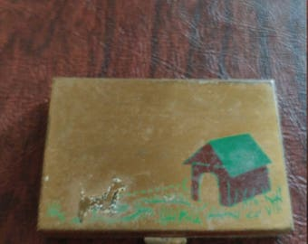 Rare Vintage Mirror Compact With Powder and Rouge, Dog and Dog House Design by U_nique Makeup