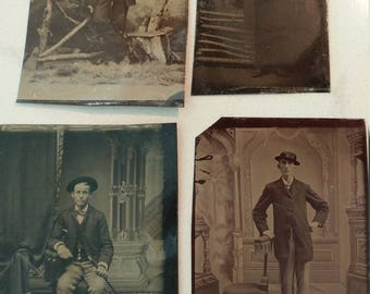 Interesting Gentlemen:  Lot of 4 Antique Tintype Photographs of Well-Dressed and Noteworthy Men