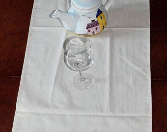 fabric table runner ecru embroidered heart