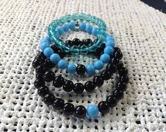 Turquoise and black bracelet set