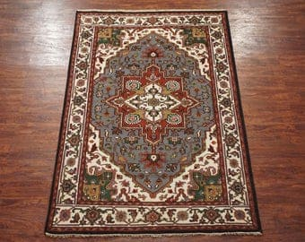 6X9 Heriz Serapi Hand-Knotted Area Rug Wool Oriental Carpet (5.11 x 8.11)