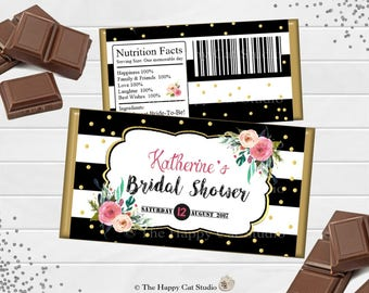 Printable Floral Chocolate Bar Wrappers, Bridal Shower, Personalized, Candy Bar Wrappers, Party Favor, Wedding, Birthday, Baby Shower