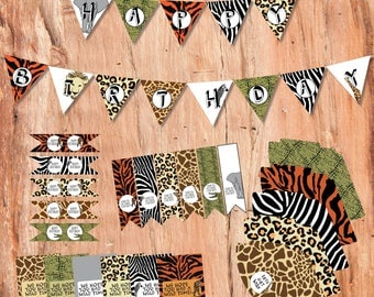 Safari Party Printable Kit, Party Printables, Safari Party, Jungle Party, Printables, Printable Decorations, Chocolate Wrappers, Bunting