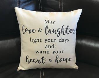 Irish Blessing Throw Pillow Quote Pillow Wedding Bridal Shower Housewarming GIft