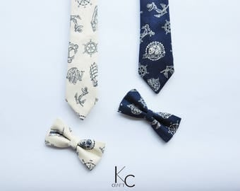 Navy Necktie/pre- bow tie, white/blue, wedding tie, suit and ties, groom accessory, mens tie, gift for him, wedding gift