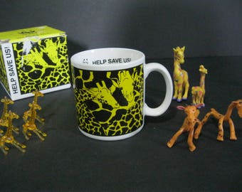 Vintage Giraffe Mug, World Wildlife Fund Mug, WWF Mug