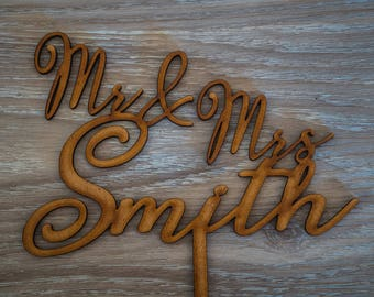 Customized Personal Wedding Cake Toppers - Mr & Mrs Surname - [Natalia Font]