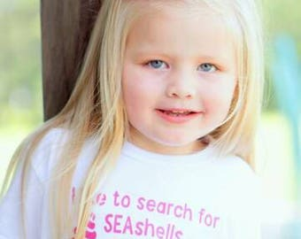 I Like to Search for Seashells by the Seashore children's shirt, Beach Babe, Summer Baby, Summer Baby Shower, Beach Baby Shower