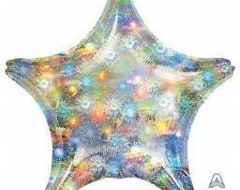 Holographic Fireworks Star Balloon, brilliant looking Star Foil Balloon