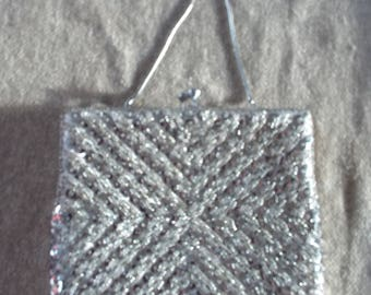 White and silver vintage sequinned and beaded occasion bag Empire Made