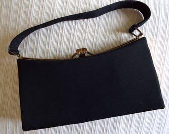 1940s/1950s vintage black grosgrain minaudiere boxy style evening bag