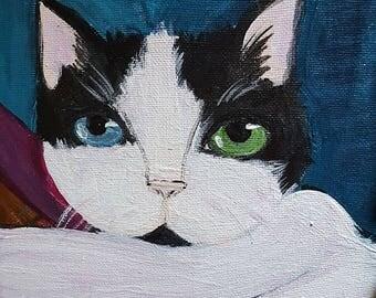 Pet portrait Folk Art Gussy - 8x10  Acrylic Painting