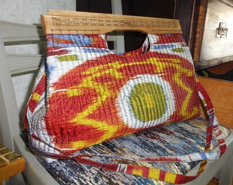 designer handmade handcraft natural silk ikat tote bag, hand bag, shoulder bag, UZBEK