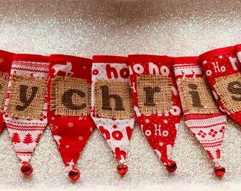 Sale......  CHRISTMAS BUNTING, Scandinavian festive bunting, Nordic cotton bunting, Christmas garland, festive flags, jingle bells