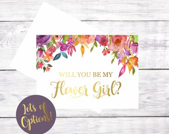 Will You Be My Flower Girl Bridesmaid Maid of Honor Matron of Honor Greeting Card Proposal Gift Card Watercolor Floral Gold Font Be My