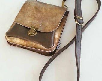 leather hip bag, shoulder bag, cross body, bronze, gold, Brown, female