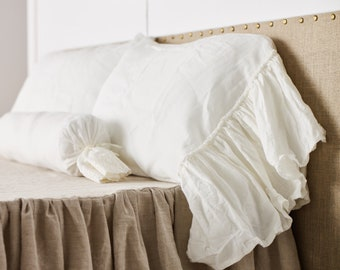 Ruffles Linen pillow case -15 colors-Linen ruffled sham- linen pillowcase-linen pillow cover-  pillow cover-Available sizes #Lovely Monday #