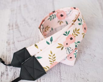Floral camera strap, flowers strap, DSLR camera strap, pink strap, womens camera strap, photgraphy accessories, photographer gift