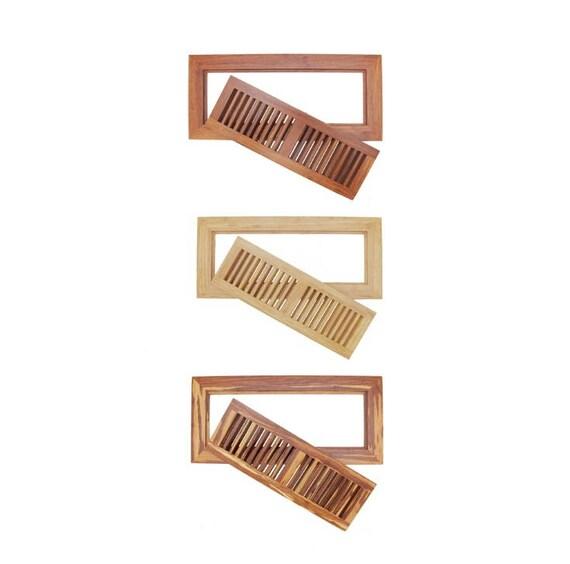 Bamboo wood floor vent register wood 6 3 4 x 14 for Wood floor registers 6 x 14