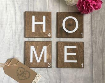 Wall art tiles, scrabble tiles, scrabble wall art small, rustic home decor