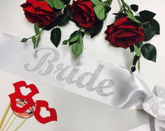 Bridal Satin Sash with rhinestones, Weddings, Bachelorette Party, Bridal shower sash, Bride gift, Bride Sash, Custom sash, Bling Sash, AS13