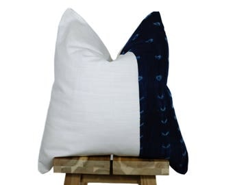 Vintage African Indigo and Linen Pillow Cover | 'Indi'