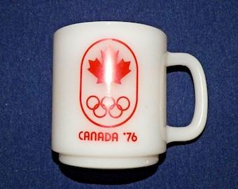 1976 Olympics Coffee Cup Milk Glass Mug D Handle Canada Maple Leaf