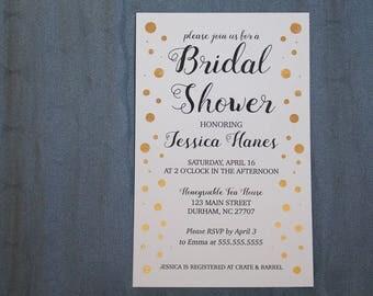 Artistic bridal shower gold foil invitation | Wedding shower invitation gold foil