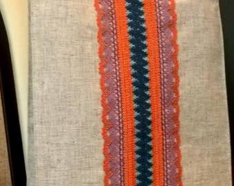 Bright and original_light gray/orange tote linen/flax bag_laces_Fisenko brand
