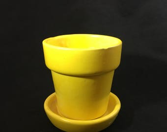 Vintage Yellow Haeger Planter and Base